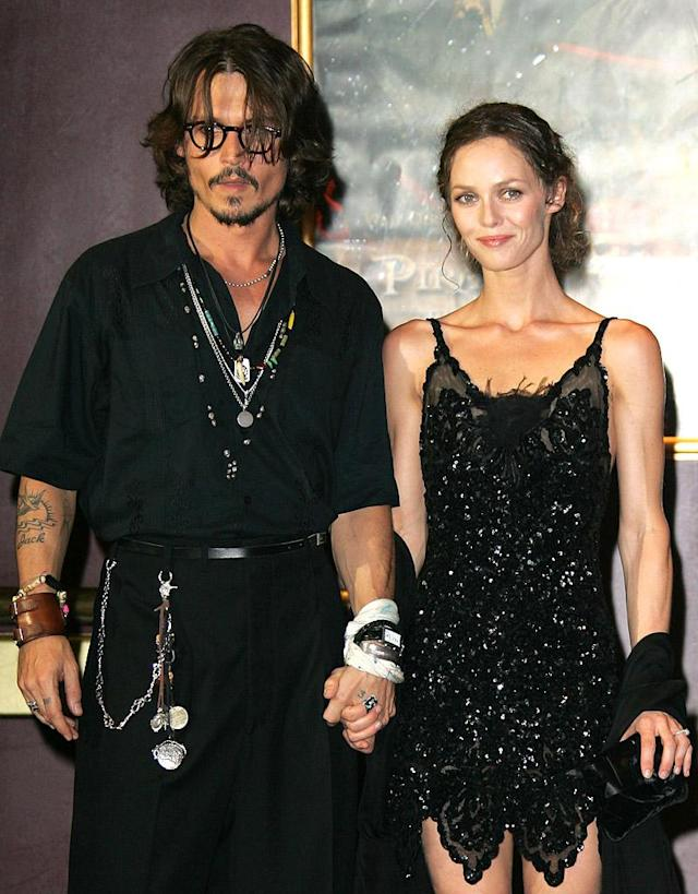 Johnny Depp and Vanessa Paradis (Photo by Tony Barson Archive/WireImage)