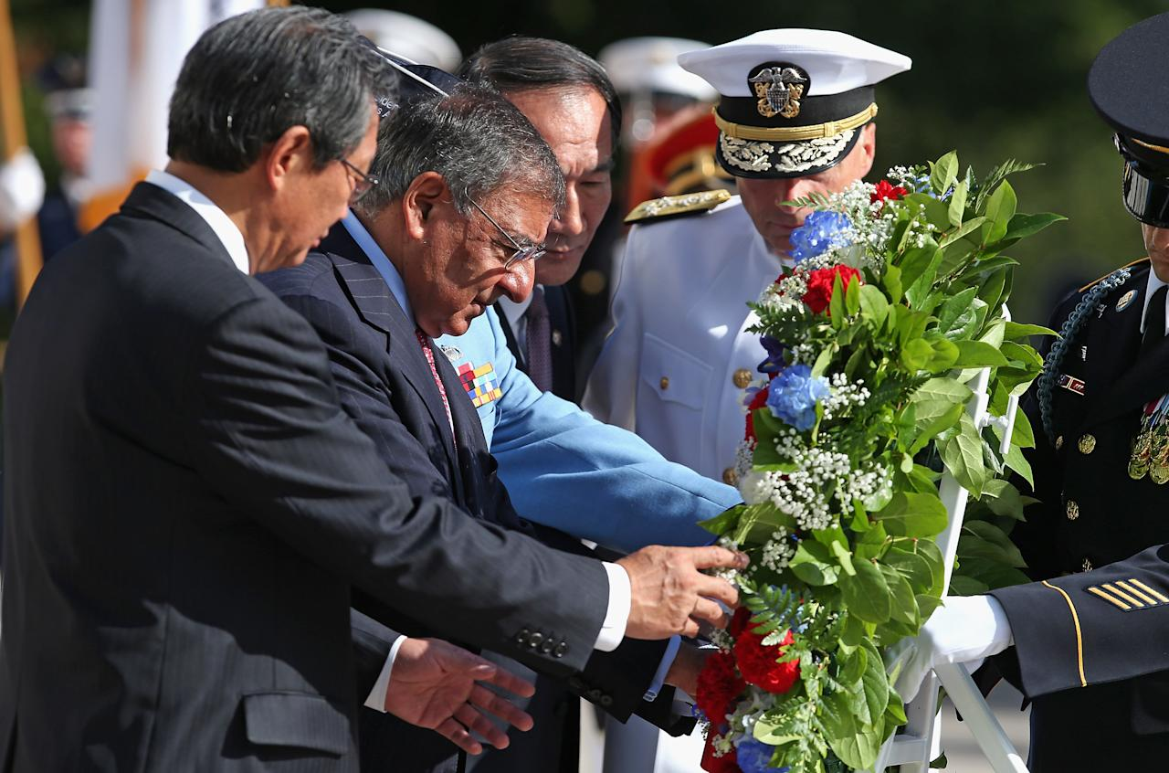 Republic of Korea Ambassador Choi Young-Jin, U.S. Secretary of Defense Leon Panetta, Republic of Korea Patriots and Veterans Affairs Minister Park Sung Choon and Joint Chiefs of Staff Vice Chairman Adm. James Winnefeld lay a wreat at the Tomb of the Unknows during the commemoration of the 59th anniversary of the Korean War Armistice at Arlington National Cemetery July 27, 2012 in Arlington, Virginia. Hundredes of Korean war veterans attended the cemmemoration of the armistice agreement that ended more than three years of fighting between the United Nations, the People's Republic of China, North Korea and South Korea.   (Photo by Chip Somodevilla/Getty Images)