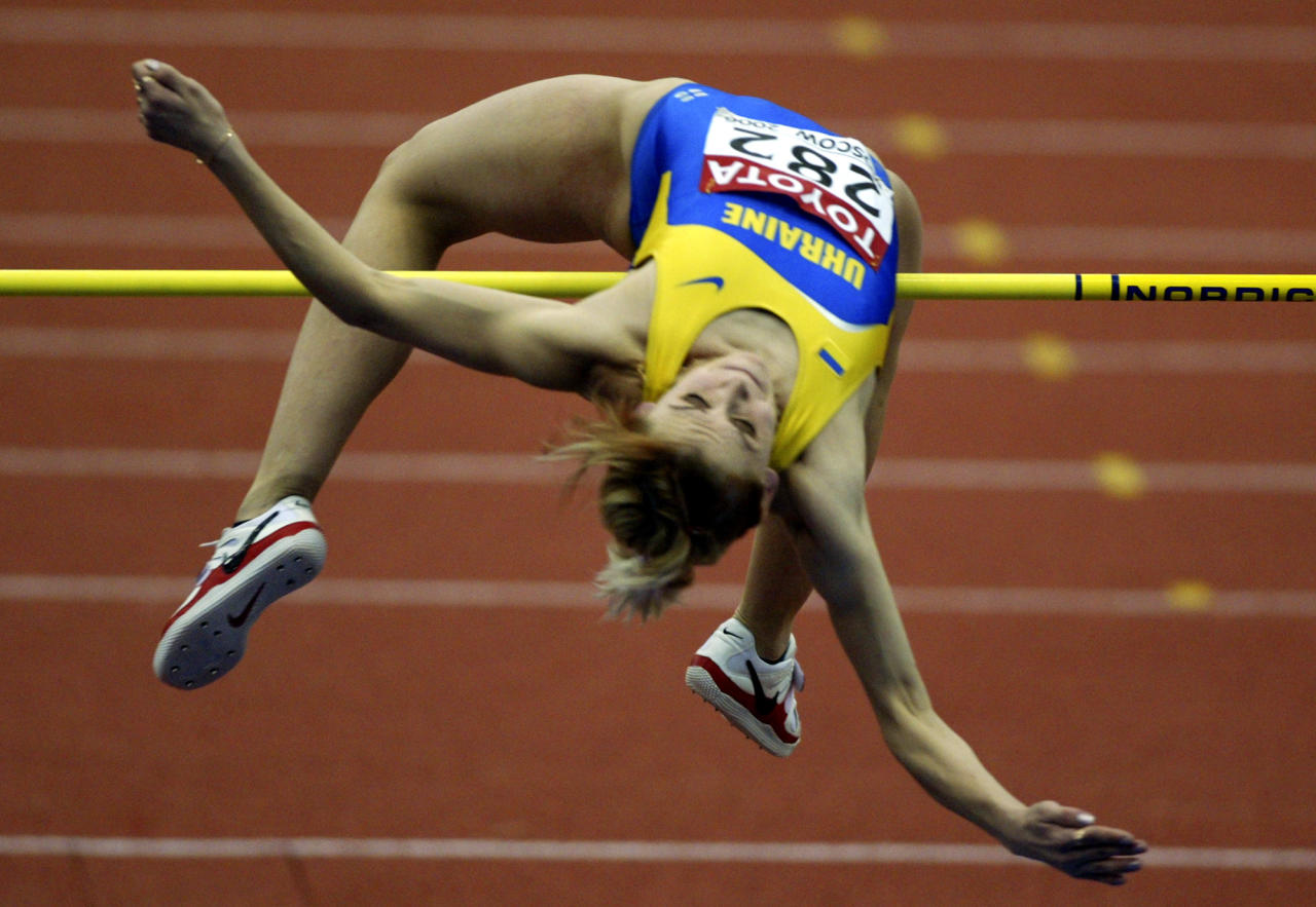 Ukraine's Lyudmyla Blonska received a lifetime ban after failing a drug test at the 2008 Beijing Games, where she won the silver medal in the heptathlon. Blonska tested positive for an anabolic steroid, and despite also qualifying for the long jump finals, the International Olympic Committee decided to remove her from the competition altogether. (AP Photo/Alexander Zemlianichenko)