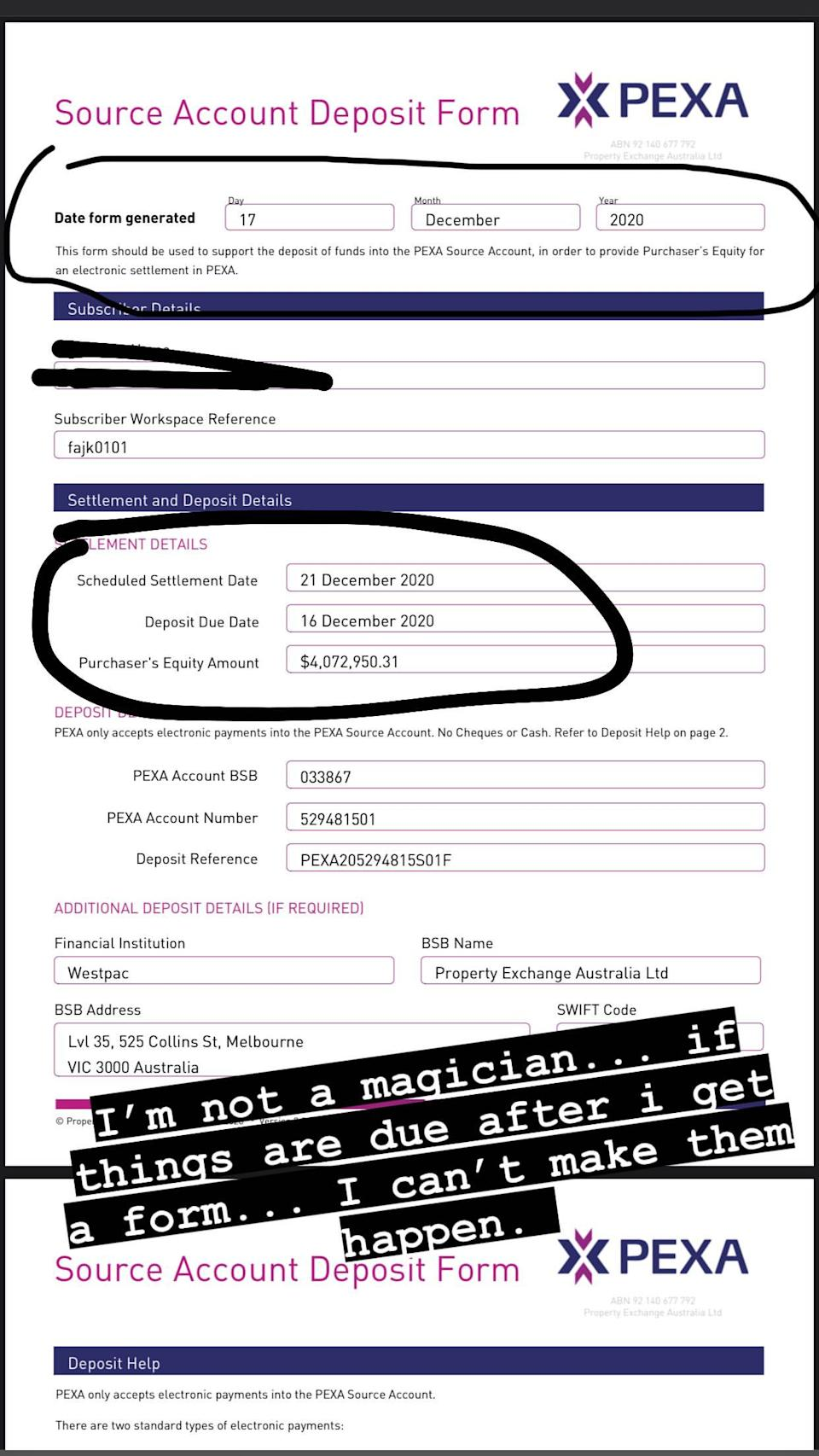 Ms Fajk took to Instagram, sharing a photo of a form she apparently received from a property company saying she owed $4,072,950 on December 16, but was date at the top stated the form wasn't even created until December 17. Photo: Instagram/__wampire