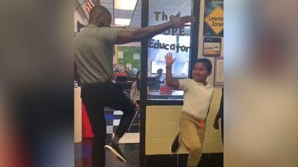PHOTO: David Jamison, a language arts teacher atHickory Ridge Elementary Schoolin Memphis, Tennessee, memorized the individual greetings from each of the 75 students he teaches. (David Jamison)