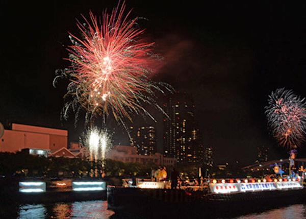 ▲Every year around there is a fireworks display in front of the boats on the river (around 5,000 fireworks in total) (Photo courtesy of Osaka Tenmangu Shrine).