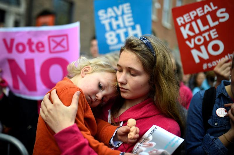 A woman and her young nephew pictured at a pro-life rally in Dublin