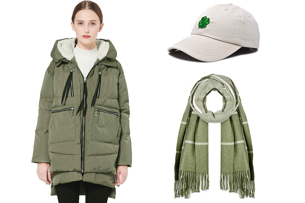 """<b>Wear your heaviest green parka and shamrock accessories.</b>More often than not, the weather will be chilly for your city's annual parade, so bundling up is a must! We recommend an army green puffer (like the warm and cozy coat <a href=""""https://people.com/style/orolay-coat-amazon/"""">that's gone viral this winter</a>!) and layering up on thematic accessories.  <b>Buy It!</b>  <strong>Coat:</strong> Orolay women's thickened down jacket, $139.99; <a href=""""https://www.amazon.com/Orolay-Womens-Thickened-Jacket-Wished/dp/B00HHOLC0O/ref=as_li_ss_tl?ie=UTF8&camp=1789&creative=9325&linkCode=as2&creativeASIN=B00HHOLC0O&tag=people0d0-20&ascsubtag=2d9022140092d9a82a4b517218076268"""" target=""""_blank"""" rel=""""nofollow"""">amazon.com</a>  <strong>Hat:</strong> Dalix four leaf clover baseball cap, $12.99; <a href=""""https://www.amazon.com/DALIX-Clover-Baseball-Patricks-Cotton/dp/B07KGNZXPB/ref=pd_sbs_193_3/144-2253252-4556952?ie=UTF8&camp=1789&creative=9325&linkCode=as2&creativeASIN=B07KGNZXPB&tag=people0d0-20&ascsubtag=2d9022140092d9a82a4b517218076268"""" target=""""_blank"""" rel=""""nofollow"""">amazon.com</a>  <strong>Scarf:</strong> Beautiful Nomad pashmina shawl wrap scarf, $21.99; <a href=""""https://www.amazon.com/dp/B07CXKM1WP/ref=asc_df_B07KKB4DYT5804416/?ie=UTF8&camp=1789&creative=9325&linkCode=as2&creativeASIN=B07CXKM1WP&tag=people0d0-20&ascsubtag=2d9022140092d9a82a4b517218076268"""" target=""""_blank"""" rel=""""nofollow"""">amazon.com</a>"""