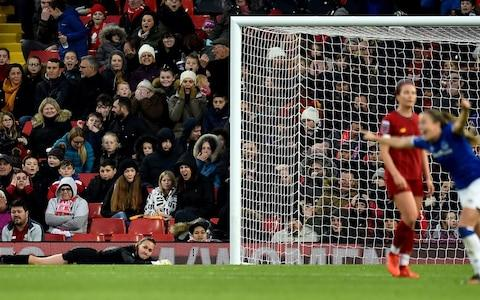 Anke Preuss of Liverpool Women dejected after Lucy Graham of Everton Women scores the opening goal during the Barclays FA Women's Super League match between Liverpool and Everton at Anfield on November 17, 2019 in Liverpool, United Kingdom - Credit: Getty Images