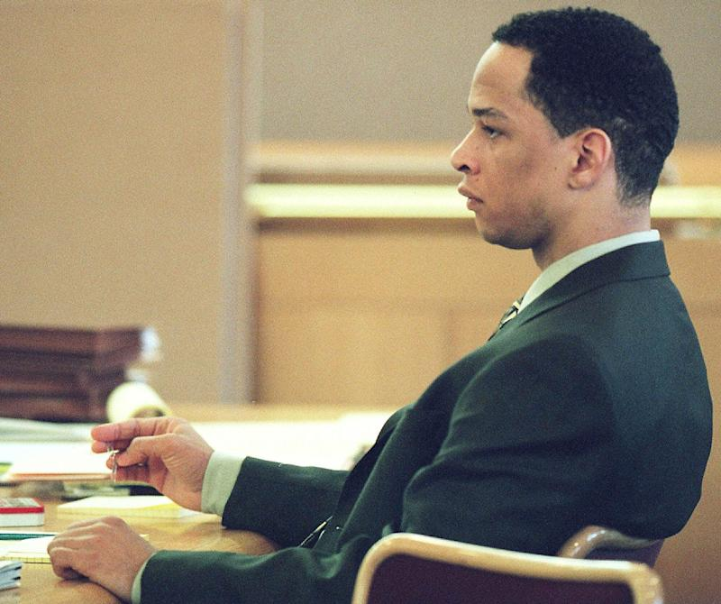 Former Carolina Panthers receiver Rae Carruth at his 2001 trial. More