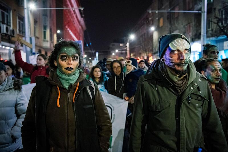 Environmental protesters marched in Sofia: Getty Images