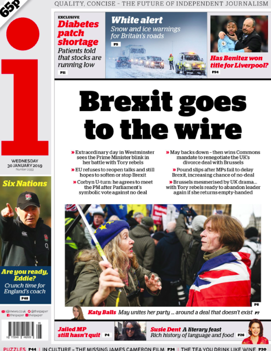 <p>The i declares that Brexit has gone to the wire, highlighting just how little time there is for a deal that makes everyone happy to be secured. (Twitter) </p>