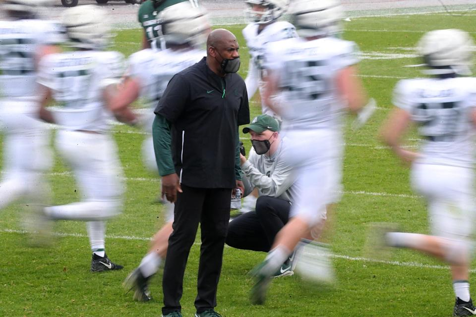 Michigan State football coach Mel Tucker looks on during the MSU spring game Saturday, April 24, 2021 at Spartan Stadium in East Lansing.