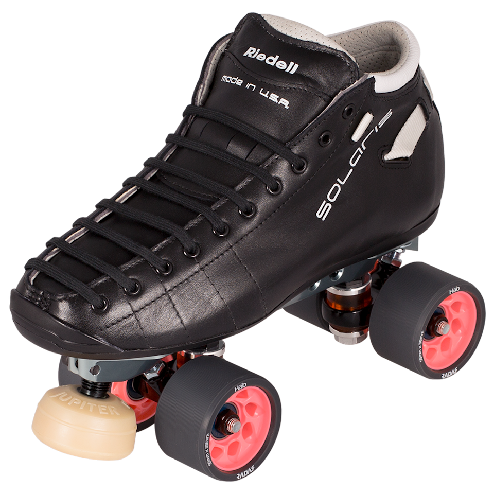 """<p><strong>Riedell</strong></p><p>riedellskates.com</p><p><strong>$699.00</strong></p><p><a href=""""https://www.roller.riedellskates.com/Catalog/Roller-Skate-Sets/Derby-Skate-Sets/Set-SOLARIS-SolarisPro"""" rel=""""nofollow noopener"""" target=""""_blank"""" data-ylk=""""slk:Shop Now"""" class=""""link rapid-noclick-resp"""">Shop Now</a></p><p>""""Riedell is a household name when it comes to roller skating. The skates are hand-made in Minnesota and are built to last. If you're ready to upgrade your derby skates but aren't quite ready to do a full custom setup my suggestion is the Riedell Solaris Pro Skate Set. The set comes with their innovative Solaris boot, PowerDyne Reactor Pro plate, and my favorite derby wheels; Radar Halo 93A."""" — <em><a href=""""https://www.instagram.com/b000msk8s/"""" rel=""""nofollow noopener"""" target=""""_blank"""" data-ylk=""""slk:Justine Sanborn"""" class=""""link rapid-noclick-resp"""">Justine Sanborn</a>, a.k.a. B000M, certified skate instructor</em></p>"""