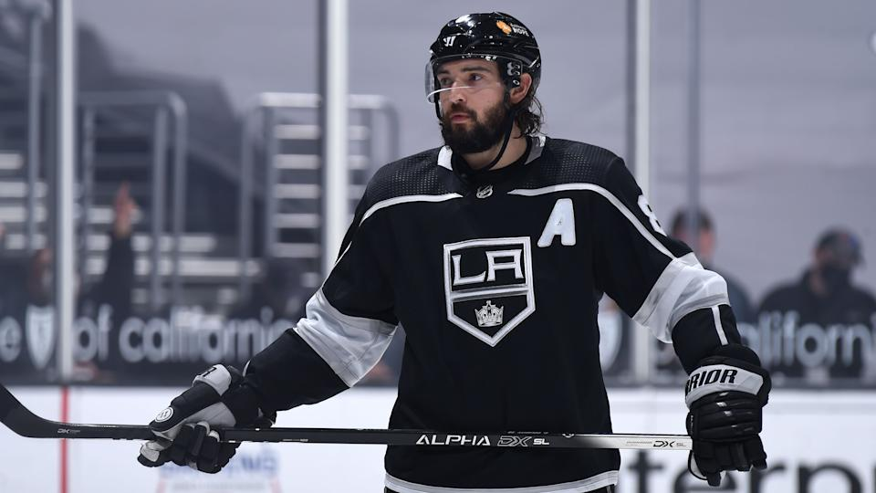 LOS ANGELES, CA - APRIL 5:  Drew Doughty #8 of the Los Angeles Kings looks on during the second period against the Arizona Coyotes at STAPLES Center on April 5, 2021 in Los Angeles, California.  (Photo by Juan Ocampo/NHLI via Getty Images)