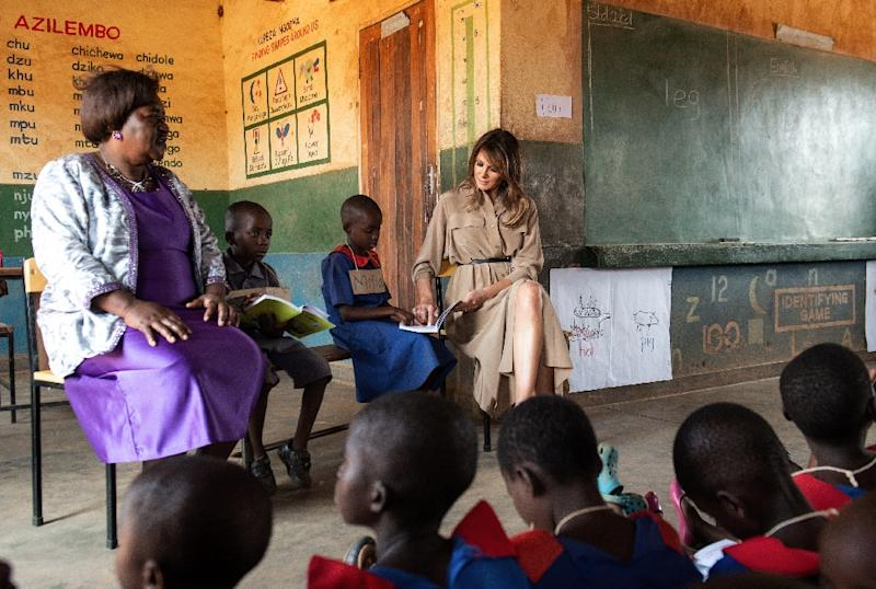 US First Lady Melania Trump toured a primary school in Malawi on the second leg of her solo tour of Africa