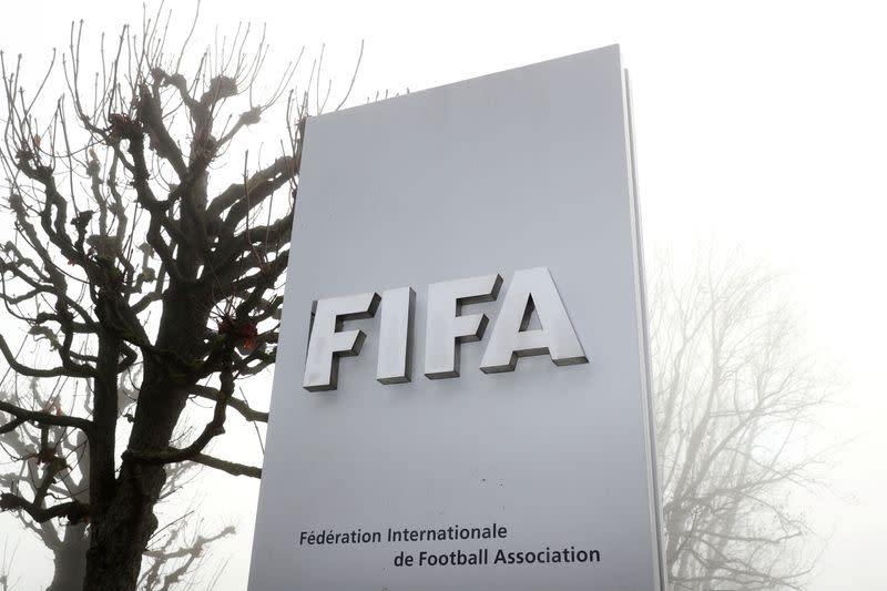 FIFA's logo is seen in Zurich