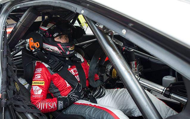 Renee Gracie behind the wheel of the Ford Falcon FGX she will drive at Mount Panorama. Source: Facebook/Harvey Norman Supergirls.