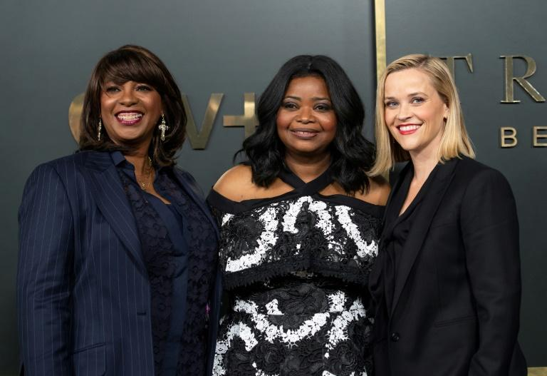 """Producer Nichelle D. Tramble, star Octavia Spencer and executive producer Reese Witherspoon created Apple TV+'s true crime podcast-themed drama """"Truth Be Told"""" (AFP Photo/VALERIE MACON)"""