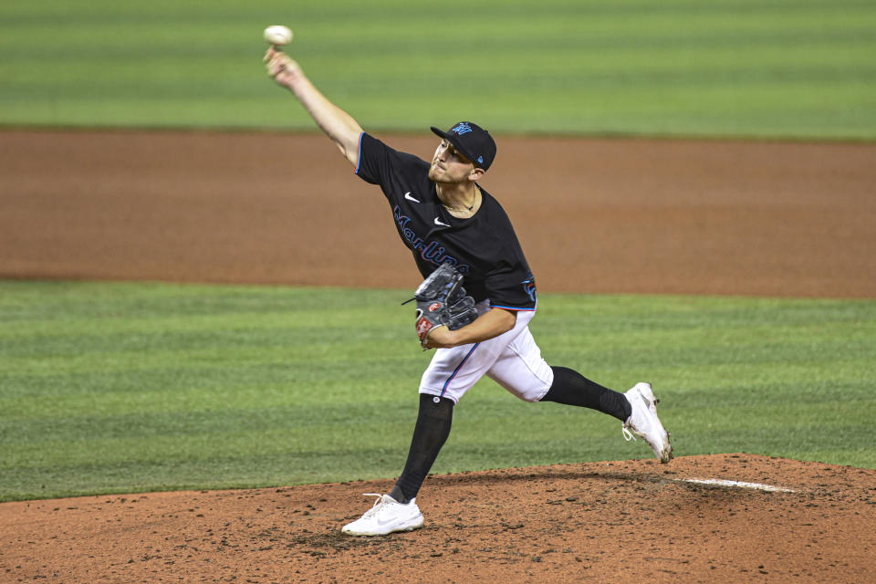 Miami Marlins' Paul Campbell delivers a pitch during the third inning of the team's baseball game against the Tampa Bay Rays, Saturday, April 3, 2021, in Miami. (AP Photo/Gaston De Cardenas)