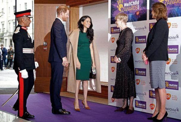 PHOTO: Britain's Prince Harry, Duke of Sussex, and Meghan, Duchess of Sussex are greeted upon their arrival for the WellChild Awards in London, Oct. 15, 2019. (Tolga Akmen/AFP via Getty Images)