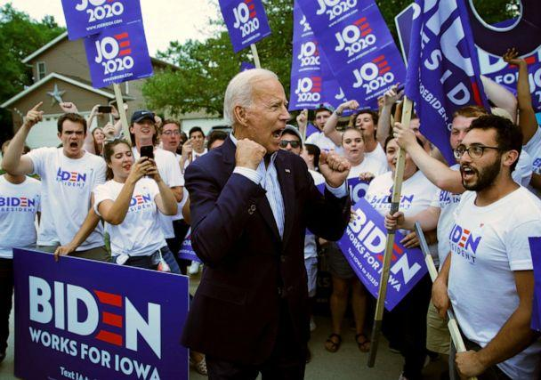 PHOTO: Former Vice President and Democratic presidential candidate Joe Biden meets with supporters before speaking at the Iowa Democratic Wing Ding at the Surf Ballroom in Clear Lake, Iowa, Aug. 9, 2019. (John Locher/AP, File)