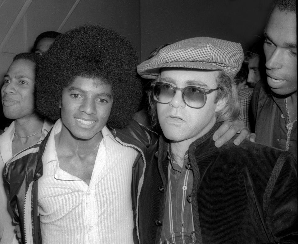***FILE PHOTO*** 10th Anniversary of Michael Jackson's Death Michael Jackson and Elton John at Studio 54 1978 Photo By Adam Scull/PHOTOlink/MediaPunch /IPX