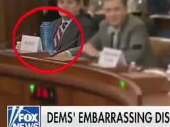On the Ingraham Angle, a blue water bottle stole the impeachment show: Fox News screenshot