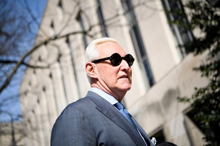 Former campaign advisor to US President Donald Trump, Roger Stone, arrives at US District Court in Washington, DC on February 21, 2019. (Photo: Brendan Smialowski/AFP/Getty Images)