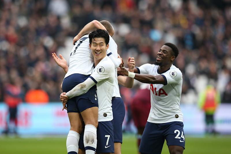 LONDON, ENGLAND - NOVEMBER 23: Lucas Moura of Tottenham Hotspur celebrates scoring his side's second goal with team mates Son Heung-Min and Serge Aurier during the Premier League match between West Ham United and Tottenham Hotspur at London Stadium on November 23, 2019 in London, United Kingdom. (Photo by Craig Mercer/MB Media/Getty Images)