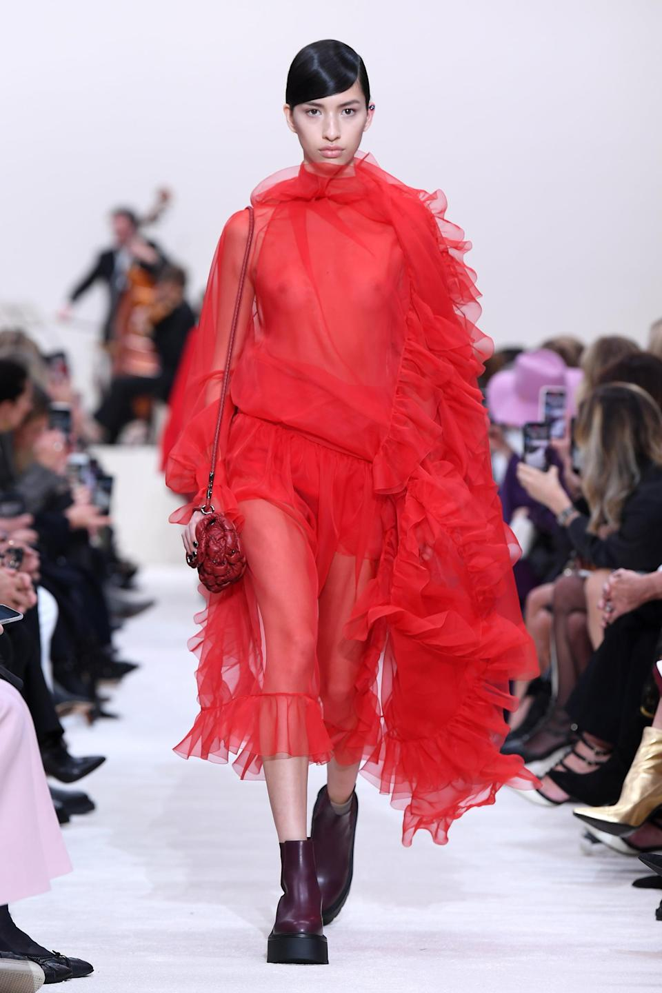 <p>If it doesn't feel like borderline couture, is it even Valentino? Something about designer Pierpaolo Piccioli's approach to femininity feels positively dreamy, and we're absolutely here for it. With any combination of sheer, flowy garments, tiered ruffles, and garden tones, you'll be just about ready to saunter down the runway yourself.</p>