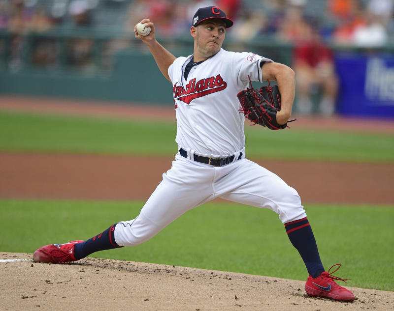 Cleveland Indians starting pitcher Trevor Bauer delivers in the first inning of the team's baseball game against the Detroit Tigers, Thursday, July 18, 2019, in Cleveland. (AP Photo/David Dermer)