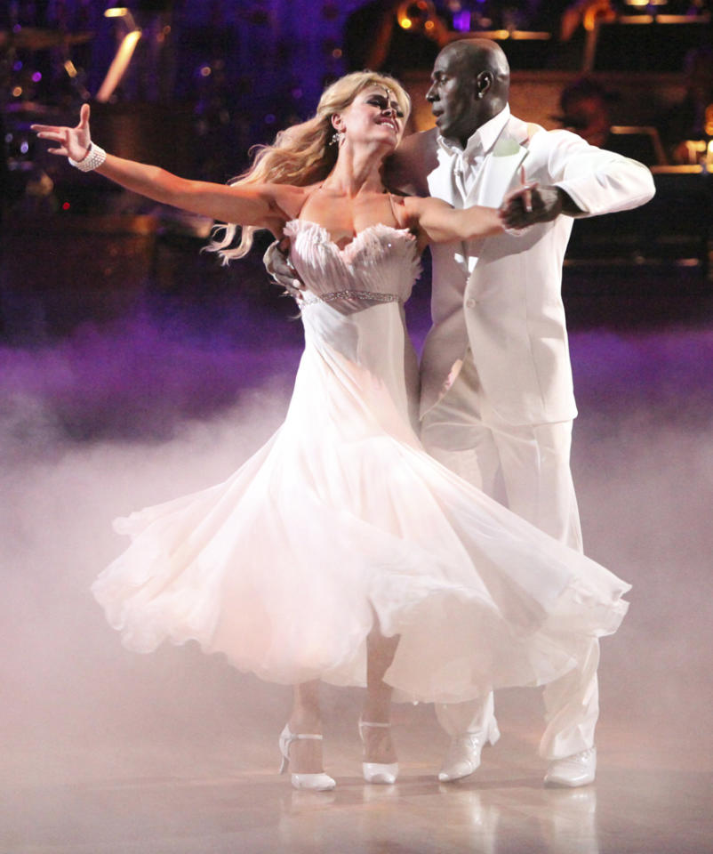 "Peta Murgatroyd and Donald Driver perform on ""Dancing with the Stars."""