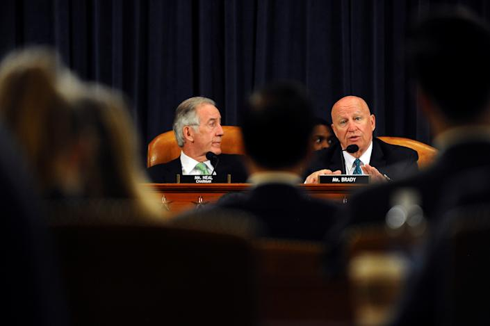 Chairman, Rep. Richard Neal, (D-MA) and Rep. Kevin Brady, (R-TX), question U.S. Commerce Secretary Wilbur Ross who testifies during a House Oversight and Reform Committee hearing on oversight of the Commerce Department, in Washington, U.S., March 14, 2019.      REUTERS/Mary F. Calvert