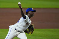 Seattle Mariners starting pitcher Justin Dunn throws against the Texas Rangers during the fourth inning of a baseball game, Sunday, Aug. 23, 2020, in Seattle. (AP Photo/Ted S. Warren)