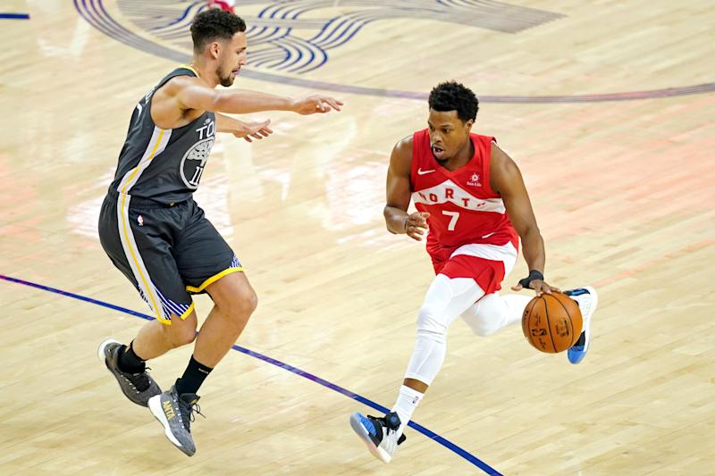 Jun 7, 2019; Oakland, CA, USA; Toronto Raptors guard Kyle Lowry (7) drives to the basket against Golden State Warriors guard Klay Thompson (11) during the first quarter in game four of the 2019 NBA Finals at Oracle Arena. Mandatory Credit: Kyle Terada-USA TODAY Sports