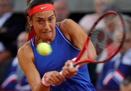 Tennis - Fed Cup - World Group Semi-Final - France v Romania - Kindarena, Rouen, France - April 20, 2019 France's Caroline Garcia in action during her match against Romania's Mihaela Buzarnescu REUTERS/Charles Platiau