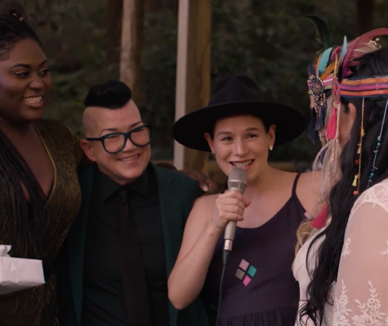 Stars of the show Lea Delaria, Yael Stone and Danielle Brooks crashed the wedding. Source: Facebook / Netflix