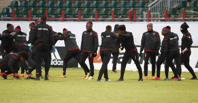 Soccer Football - Europa League - OGC Nice Training - Moscow, Russia - February 21, 2018 - Nice's players train. REUTERS/Sergei Karpukhin