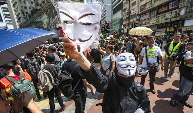 Protesters at an anti-government rally in Causeway Bay on October 01, 2019. Photo: Felix Wong