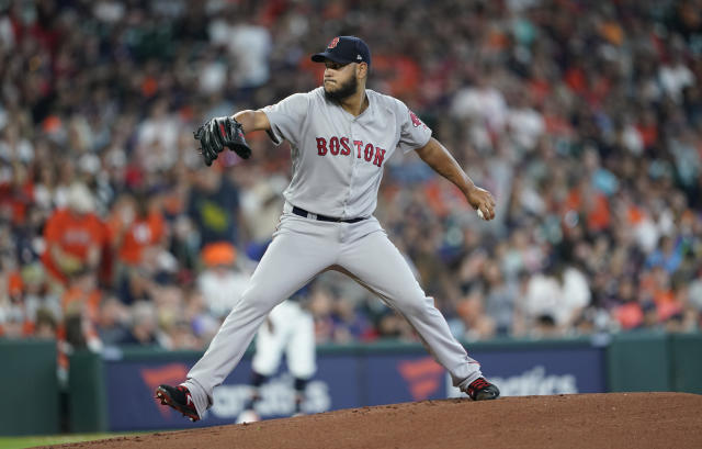 Boston Red Sox starting pitcher Eduardo Rodriguez throws against the Houston Astros during the first inning of a baseball game Sunday, May 26, 2019, in Houston. (AP Photo/David J. Phillip)