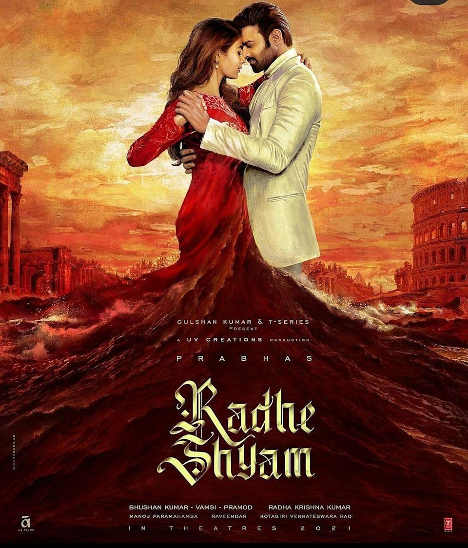 Prabhas and Pooja Hegde in the poster for <i>Radhe Shyam</i>