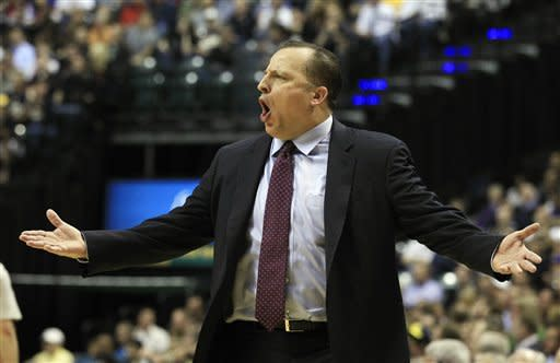 Chicago Bulls coach Tom Thibodeau argues a call during the first half of an NBA basketball game against the Indiana Pacers, Wednesday, April 25, 2012, in Indianapolis. (AP Photo/Darron Cummings)
