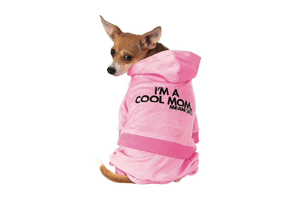 """<p>The perfect pooch outfit for pet parents who still wear pink on Wednesdays. </p> <p><strong>Buy it!</strong> Mean Girls Mom Track Suit Pet Costume, $22.36; <a href=""""https://www.amazon.com/Rubies-Girls-Track-Costume-X-Small/dp/B083W8Z3VN?&linkCode=ll1&tag=pohalloweencostumesfordogskbender0921-20&linkId=5131b0842fc1b3176c37487851b5892c&language=en_US&ref_=as_li_ss_tl"""" rel=""""nofollow noopener"""" target=""""_blank"""" data-ylk=""""slk:Amazon.com"""" class=""""link rapid-noclick-resp"""">Amazon.com</a></p>"""