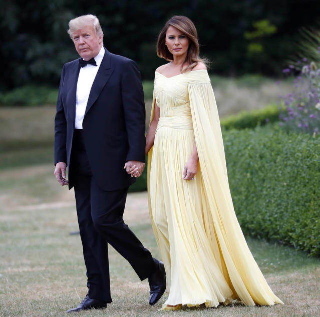 President Trump and first lady Melania Trump leave Winfield House, residence of the U.S. ambassador, before a helicopter flight to nearby Blenheim Palace, on July 12. (Photo: AP/Pablo Martinez Monsivais)