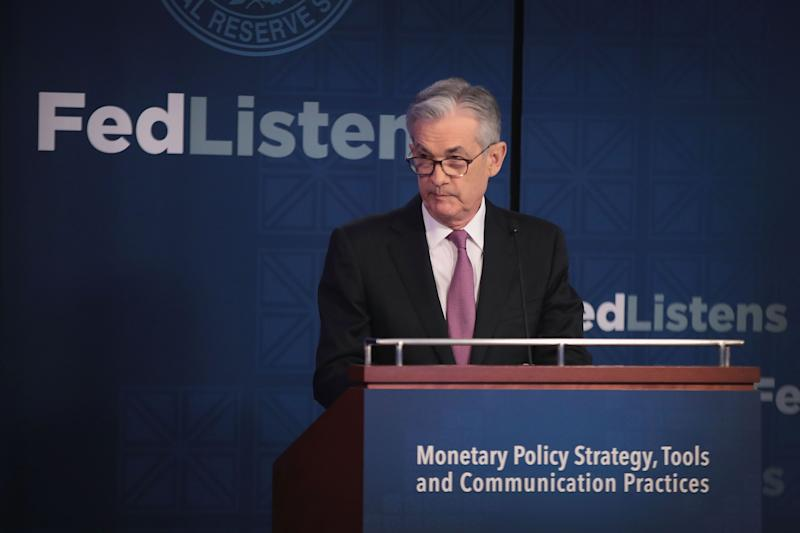 CHICAGO, ILLINOIS - JUNE 04: Jerome Powell, Chair, Board of Governors of the Federal Reserve speaks during a conference at the Federal Reserve Bank of Chicago on June 04, 2019 in Chicago, Illinois. The conference was held to discuss monetary policy strategy, tools and communication practices. (Photo by Scott Olson/Getty Images)