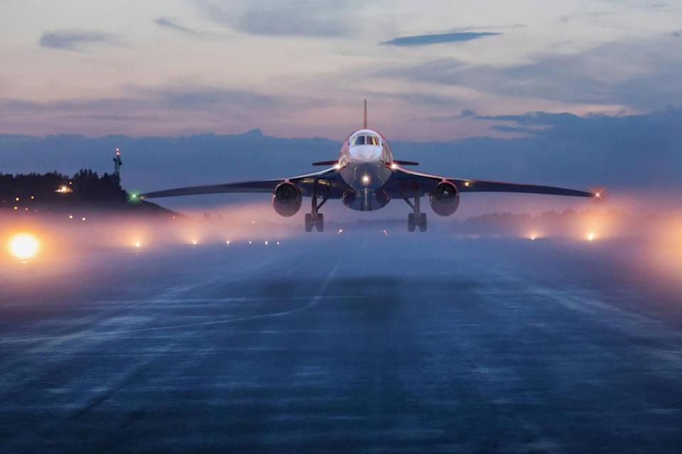 A rendering of Aerion's AS2 supersonic business jet coming in for a landing on a runway