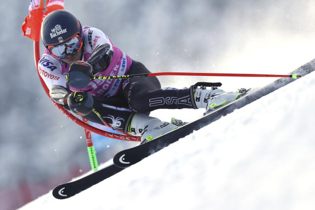 Tommy Ford, of the United States, competes during a ski World Cup men's Giant Slalom in Adelboden, Switzerland, Saturday, Jan.12, 2019. (AP Photo/Shinichiro Tanaka)