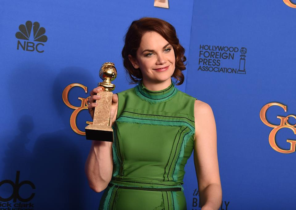 """Ruth Wilson poses in the press room with the award for best actress in a television series - drama for """"The Affair"""" at the 72nd annual Golden Globe Awards at the Beverly Hilton Hotel on Sunday, Jan. 11, 2015, in Beverly Hills, Calif. (Photo by Jordan Strauss/Invision/AP)"""