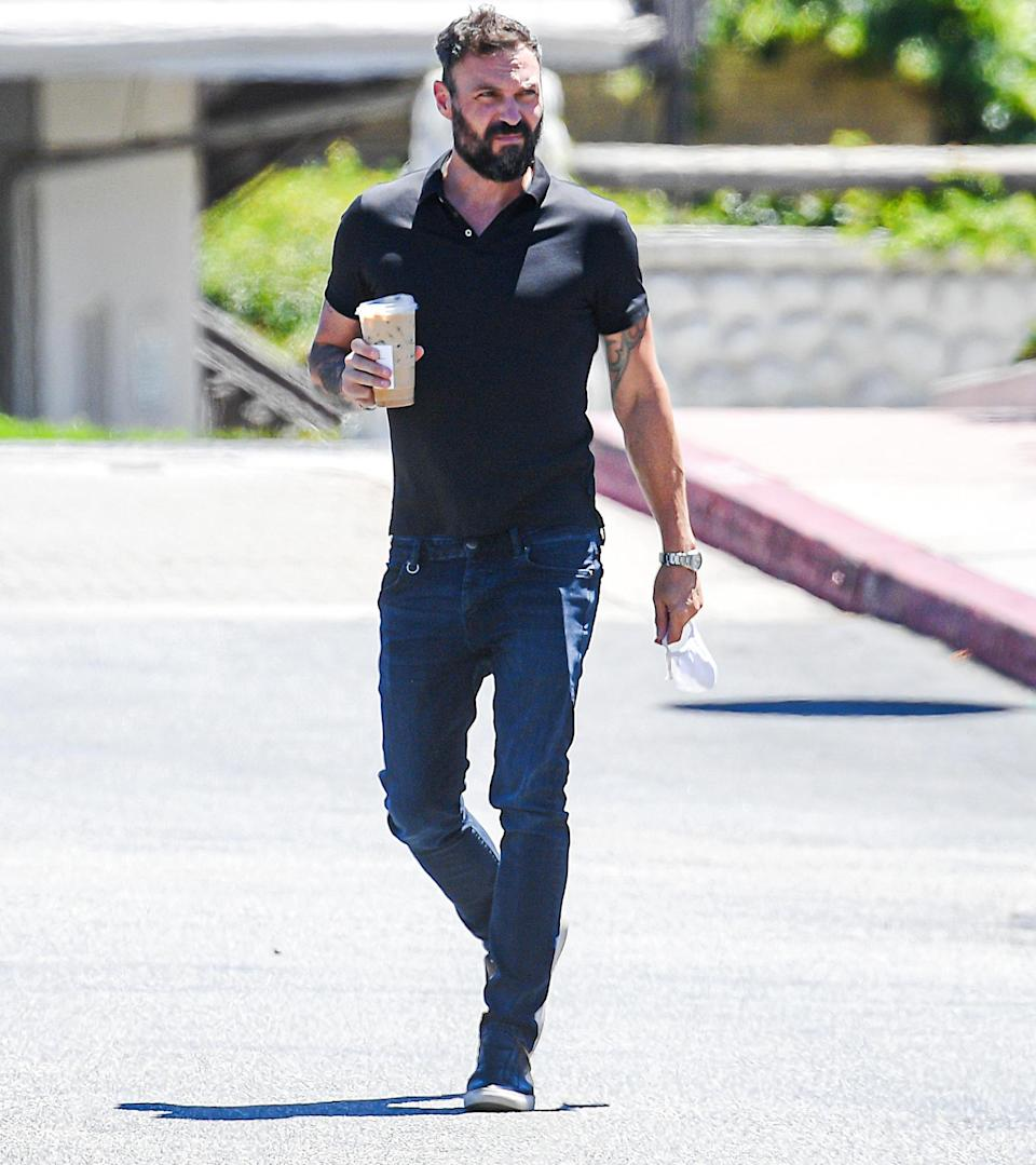 <p>Brian Austin Green makes a quick visit to Starbucks while out on Wednesday in Calabasas, California.</p>