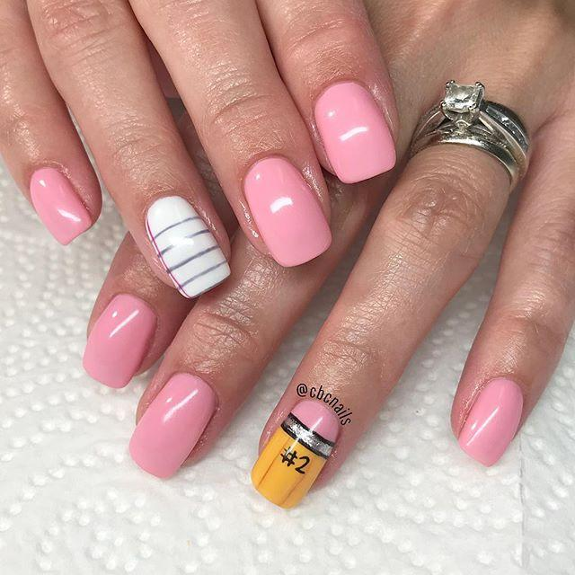 "<p>Here's a simple and sweet manicure — with a back to school twist. Opt for a pale pink polish, and then add a pencil or paper statement nail on your ring finger.</p><p><a href=""https://www.instagram.com/p/BnzdFL-ghd-/&hidecaption=true"">See the original post on Instagram</a></p>"