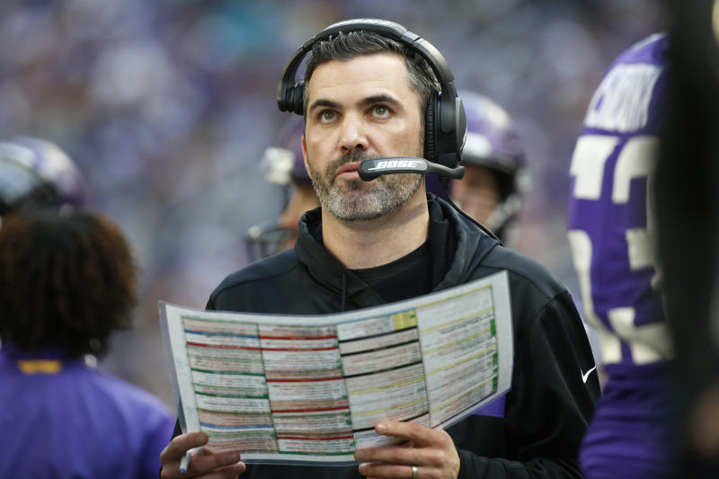 FILE - In this Sunday, Dec. 16, 2018, file photo, Minnesota Vikings interim offensive coordinator Kevin Stefanski watches from the sideline during the first half of an NFL football game against the Miami Dolphins in Minneapolis. With the Carolina Panthers and New York Giants completing coaching hires on Tuesday, Jan. 7, 2020, the Cleveland Browns job vacancy will be the last NFL opening filled. It's still unclear how quickly that will happen. The Browns, who fired Freddie Kitchens after just one season, are in the second week of interviews and have scheduled meetings this week with Patriots offensive coordinator Josh McDaniels and Vikings coordinator Kevin Stefanski.  (AP Photo/Bruce Kluckhohn, File)