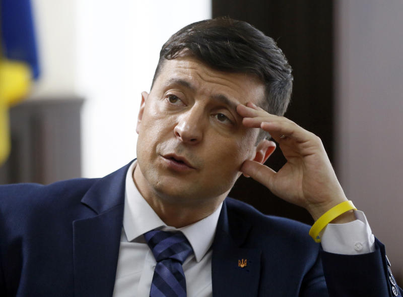 Ukrainian comedian Volodymyr Zelenskiy, who played the nation's president in a popular TV series, and is running for president in next month's election, is photographed on the set of a movie, in Kiev, Ukraine, Wednesday, Feb. 6, 2019. Zelenskiy said in an interview with The Associated Press Wednesday that Ukrainians' hopes for positive changes have failed and they view the current political elite with dismay. (AP Photo/Efrem Lukatsky)