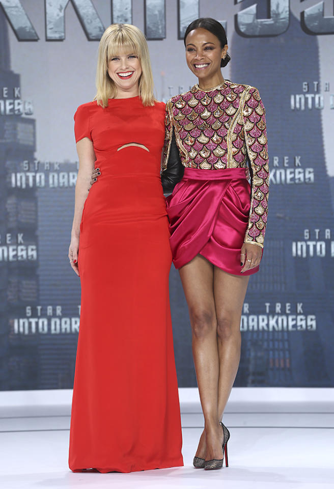 BERLIN, GERMANY - APRIL 29: Alice Eve and Zoe Saldana attend the 'Star Trek Into Darkness' Premiere at CineStar on April 29, 2013 in Berlin, Germany.  (Photo by Sean Gallup/Getty Images for Paramount Pictures)
